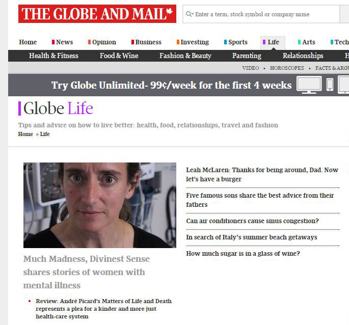 screenshot of Globe and Mail Life section